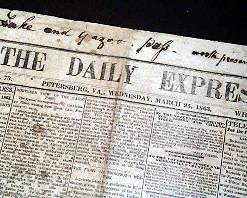 Rare CONFEDERATE Petersburg VA Virginia 1863 Original Civil War Newspaper THE DAILY EXPRESS, Petersburg, Virginia, Aug. 15, 1863 1863 Civil War Newspaper