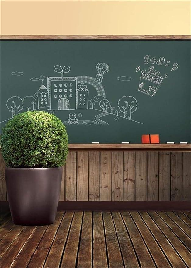 AOFOTO 5x7ft Chalkboard Back to School Backdrop Blackboard Chalk Drawing Photography Background Student Girl Boy Portrait School First Day Classroom Photo Shoot Studio Props Video Drop Vinyl