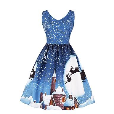 27b1ac50f9e Robe de Noël Femmes Rovinci Vintage 3D Imprimé Rond Dentelle sans Manches  de Soirée Vêtements Noël