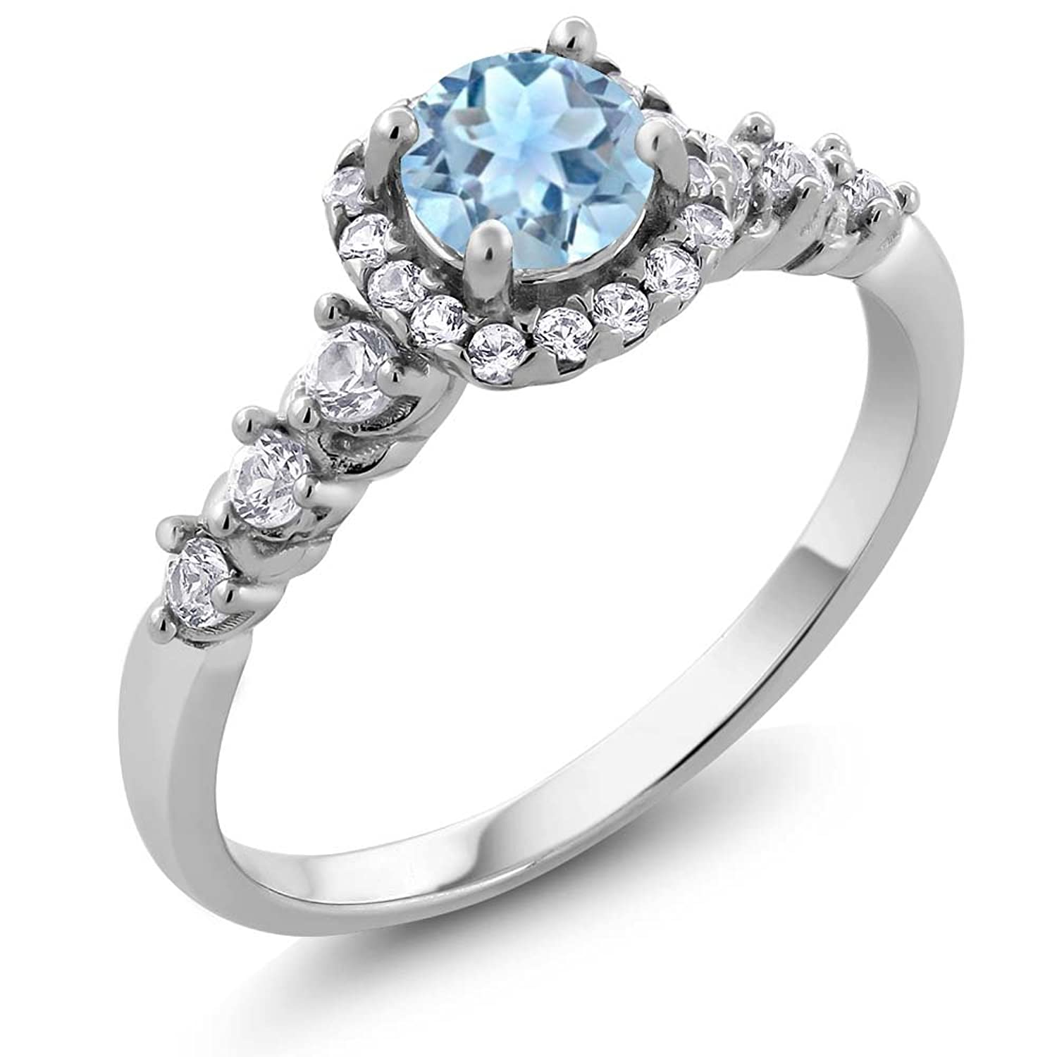 0.87 Ct Natural Round Aquamarine and White Created Sapphire 925 Sterling Silver Ladies Ring (Available in size 5, 6, 7, 8, 9)