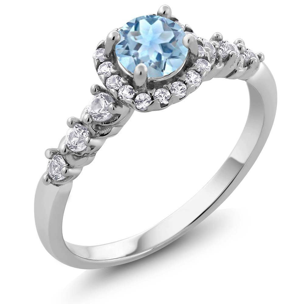 925 Sterling Silver Aquamarine and White Created Sapphire Ladies Ring 0.87 Ct (Size 9)