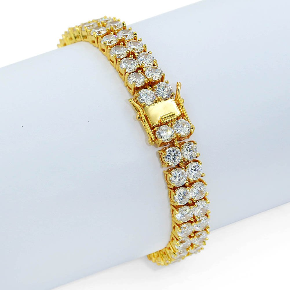 "JINAO 2 Rows AAA Gold Silver Iced Out Tennis Bling Lab Simulated Diamond Bracelet 8"" (Gold) by JINAO (Image #6)"