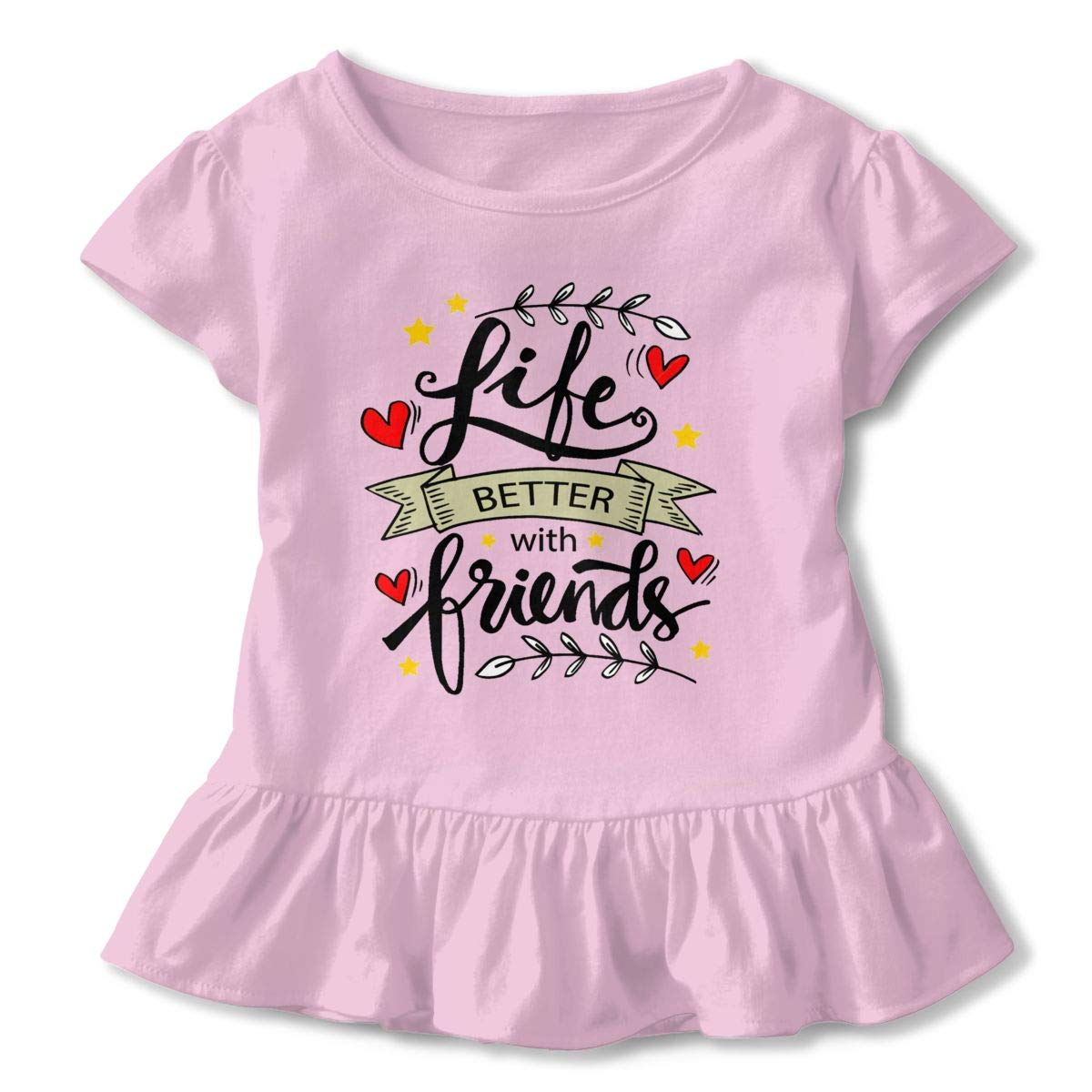 JVNSS Life is Better with Friends Shirt Cartoon Infant Girl Flounced T Shirts Tee Shirts for 2-6T Baby Girls