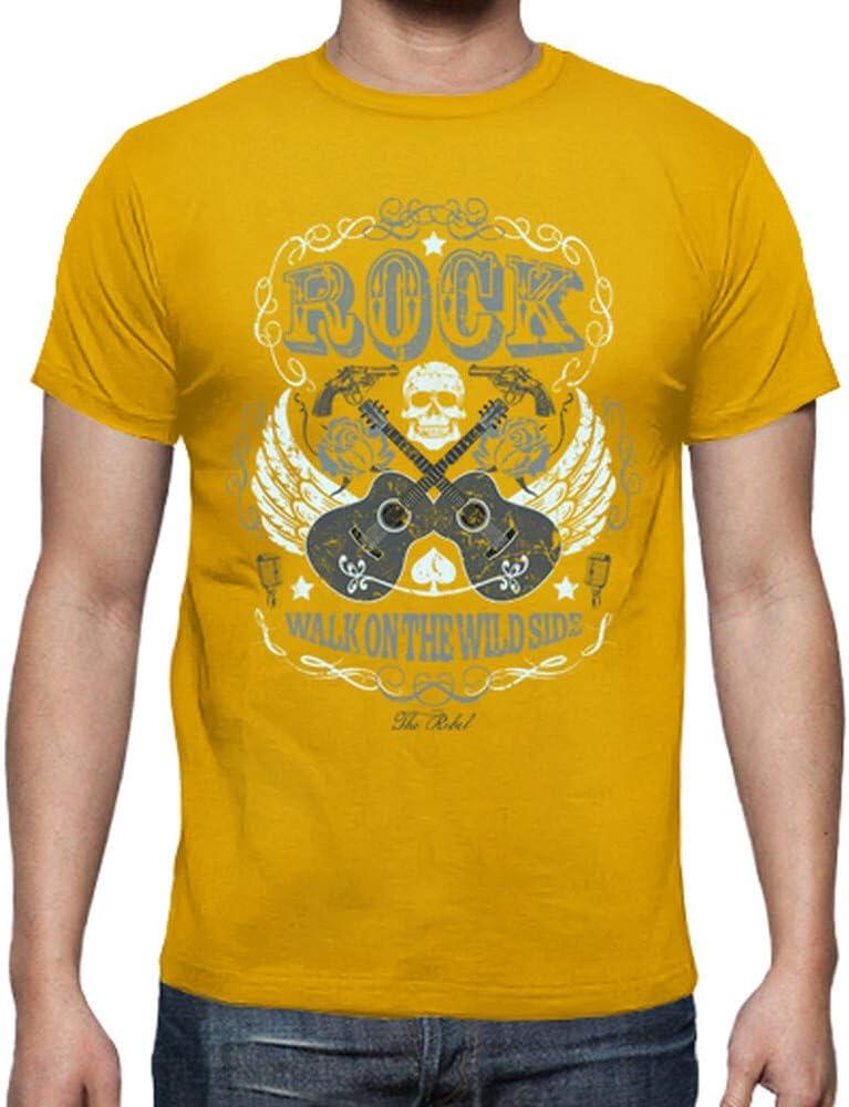 latostadora - Camiseta Rock para Hombre Amarillo Mostaza 3XL: Amazon.es: Ropa y accesorios