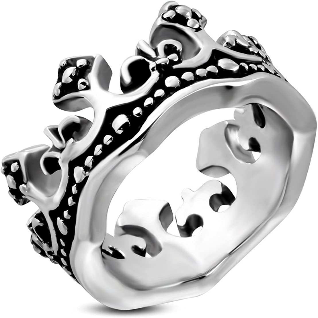 Stainless Steel Fleur De Lis Flower Royal Princess Crown Biker Ring