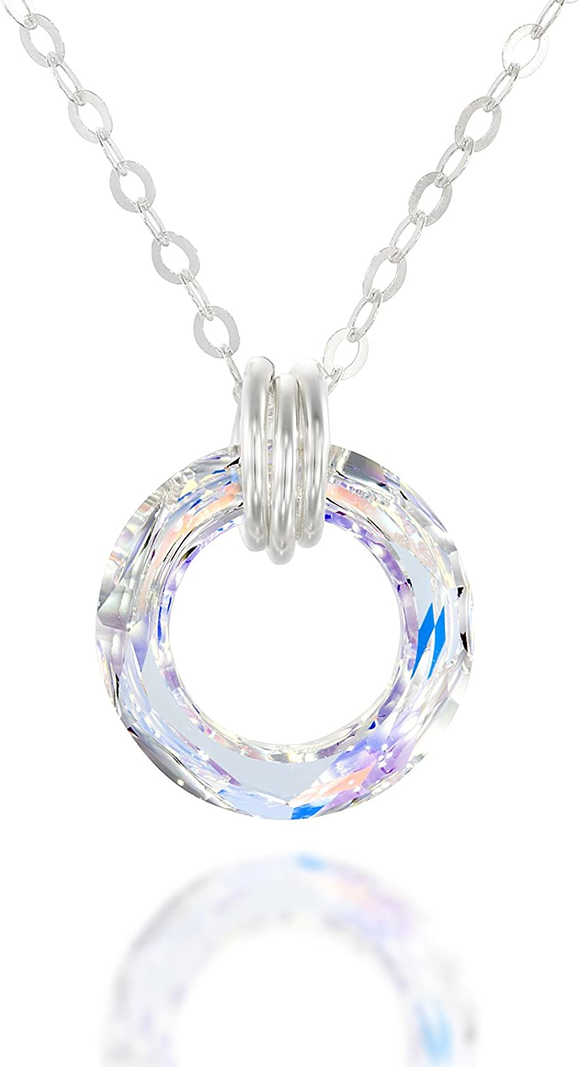 Solid 925 Sterling Silver Multi Color Stellux Crystals Pendant Charm 10mm x 11mm