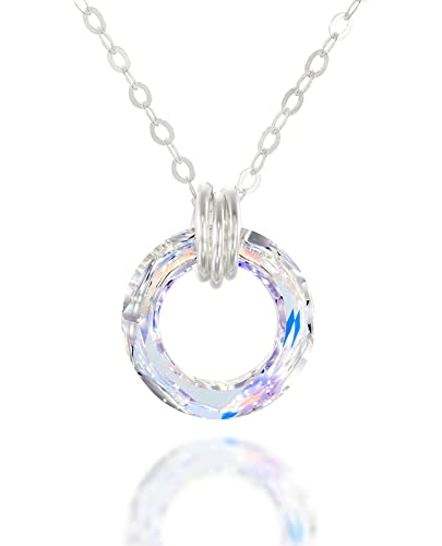 Sterling Silver Made with Swarovski Crystals Teardrop Clear (White) Pendant Necklace for Women Bridal Jewellery,18