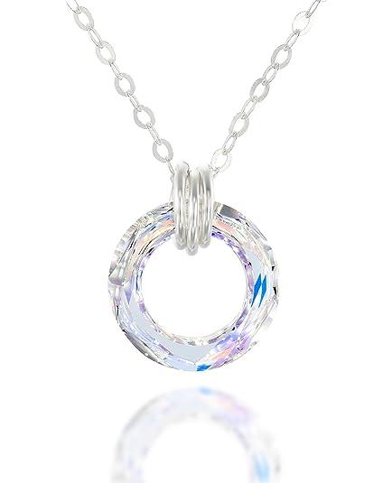 1e72b8d90980 Colgante de cristales Swarovski originales y collar de plata de ley ...