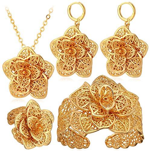 U7 Vintage 18K Gold Plated Earrings (Gold) - 4