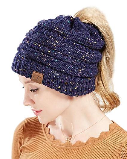 ZiXing Gorros con Coleta Mujer Invierno Gorro Caliente de Punto con Agujero  Sombreros de Invierno Knit Ponytail Beanie Hat Armada OneSize  Amazon.es  Ropa  y ... a329e77c077