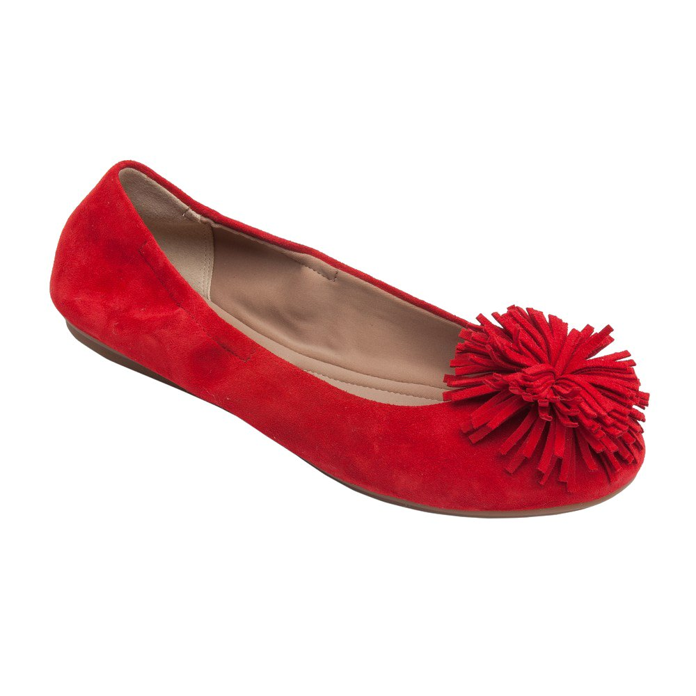 PIC/PAY Kiana - Women's Tassel Elastic Ballet Flat - Embellished Suede Leather Pompom Comfortable Slip-On B07534799W 7.5 B(M) US|Red Suede