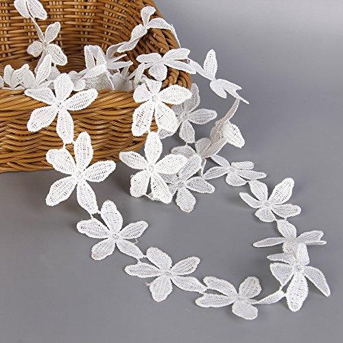White Cotton Lace Trim Applique 5 Yards Sewing DIY Craft Flower Patten Lace DIY Ribbon (Pure Cotton Applique)