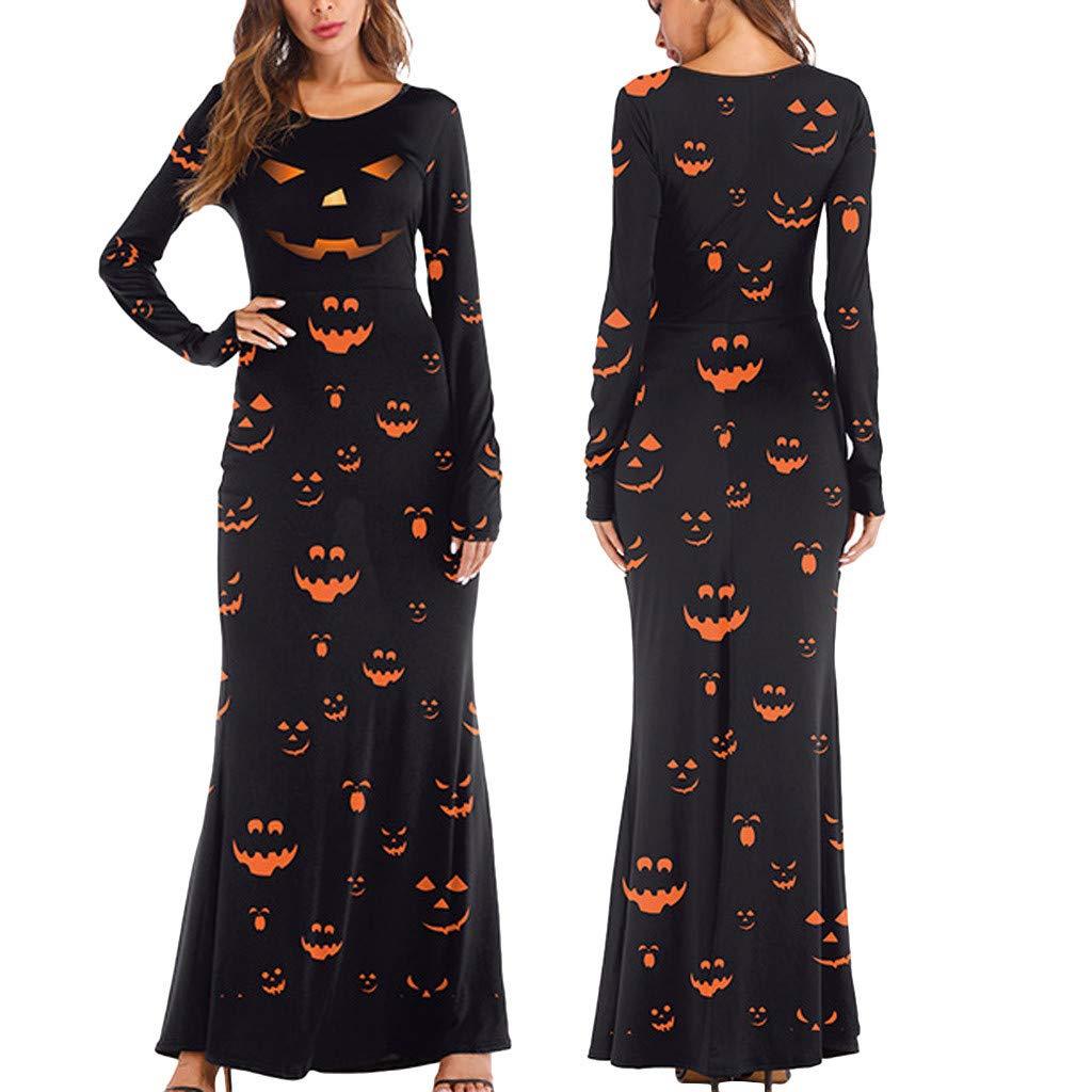charmsamx Womens Halloween Maxi Dresses Long Sleeve Loose Plain Casual Long Dresses O Neck Crewneck Pumpkin Tank Long Dress for Halloween Party Black, S/M by charmsamx