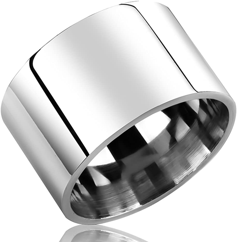 Fashion Month Mens Womens 14mm Wide Silver Stainless Steel Ring Cool Wedding Engagement Band High Polished Comfort Fit