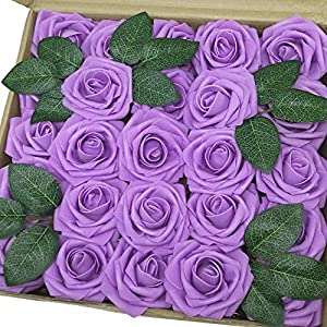 J-Rijzen Jing-Rise Artificial Flowers Real Looking Fake Roses with Stem for DIY Wedding Bouquets Centerpieces Party Baby Shower Home Decorations (Lavender, 50pcs Standard) 58