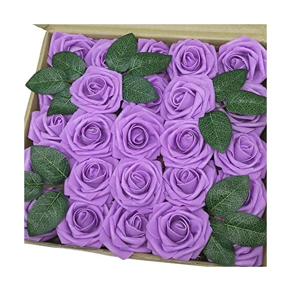 J-Rijzen Jing-Rise Artificial Flowers 50pcs Real Touch Lavender Fake Roses with Stem Centerpieces Flowers for Bridal Shower Baby Shower Wedding Party Anniversary Home Hotel Decorations (Lavender)