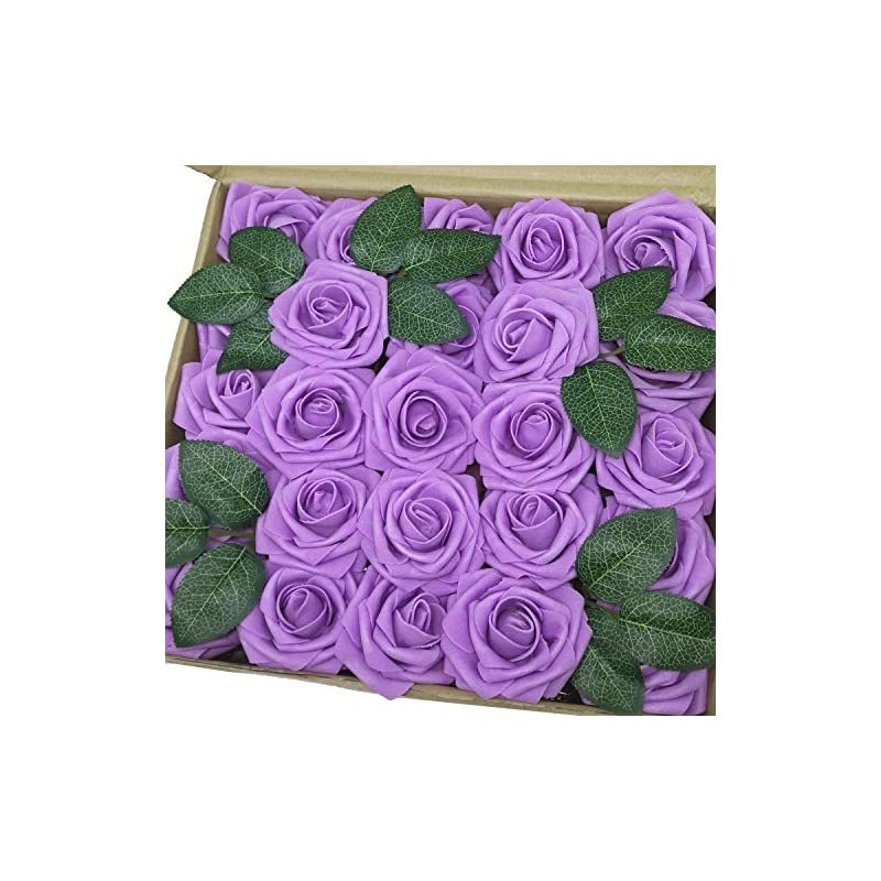 silk flower arrangements j-rijzen artificial flowers 50pcs real looking lavender fake roses with stem for diy wedding bouquets centerpieces party baby shower home decorations (lavender)