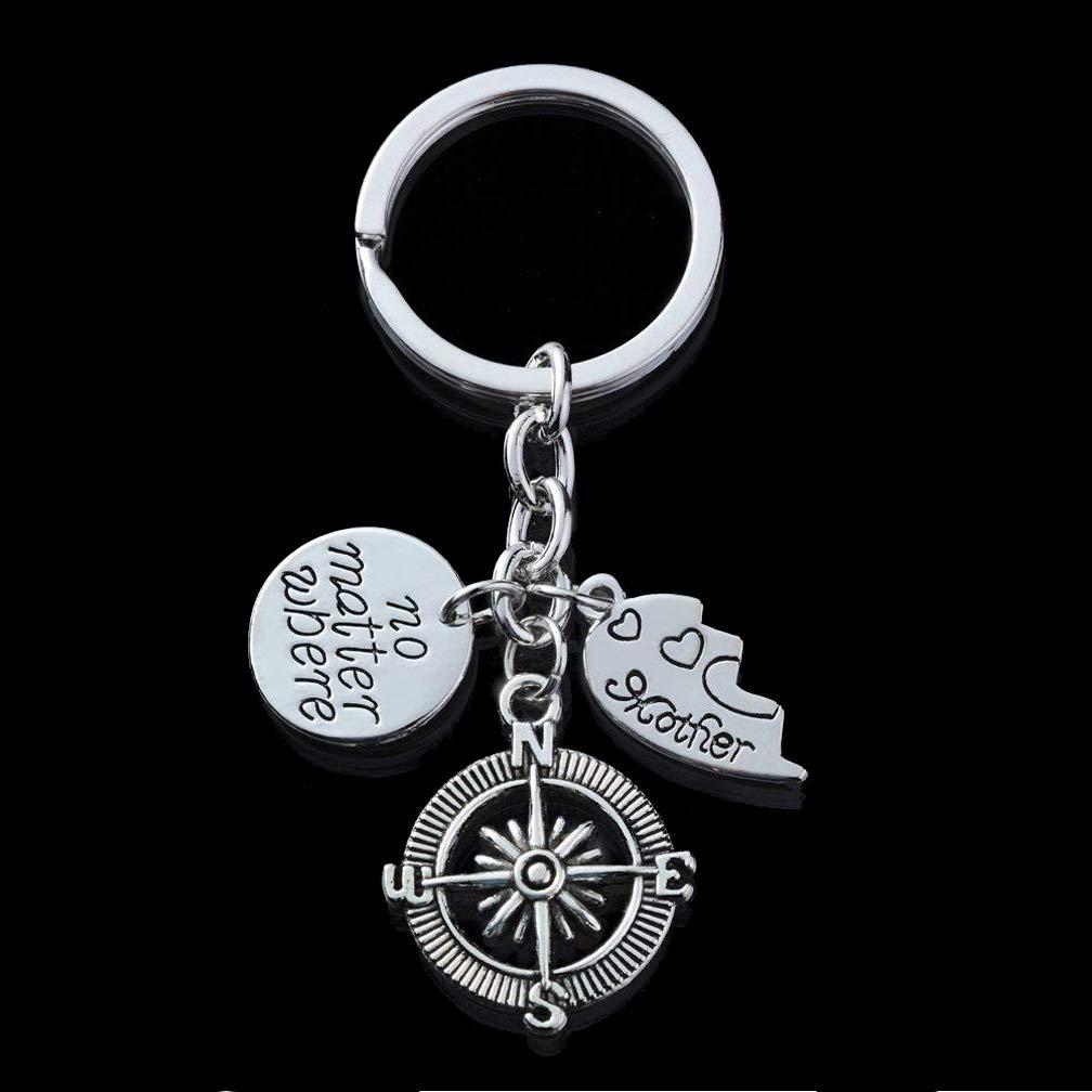Mom Key Ring Set Daughter Mom Key Chain Set Mothers Day Gift Key Ring Mother Daughter No Matter Where Pendant Keyring for Women Girl Set of 2pcs