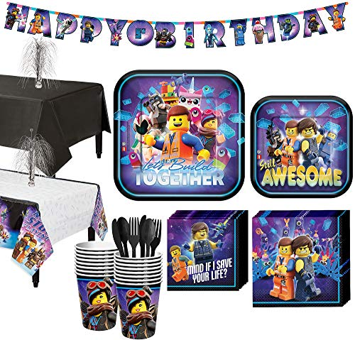 Party City The LEGO Movie 2: The Second Part Tableware Supplies for 16 Guests, Includes Table Covers, Banner Kit -