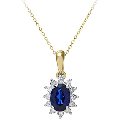 Naava Women's 0.25 ct Round Brilliant Sapphire and Diamond 9 ct White Gold Oval Cluster Pendant with Chain of 46 cm 8CxknpPKT