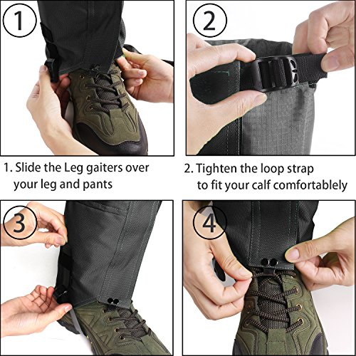 Leg Gaiters Waterproof Snow Boot Gaiters 600D Anti tear Oxford fabric for Outdoor Hiking Walking Hunting Climbing Mountain