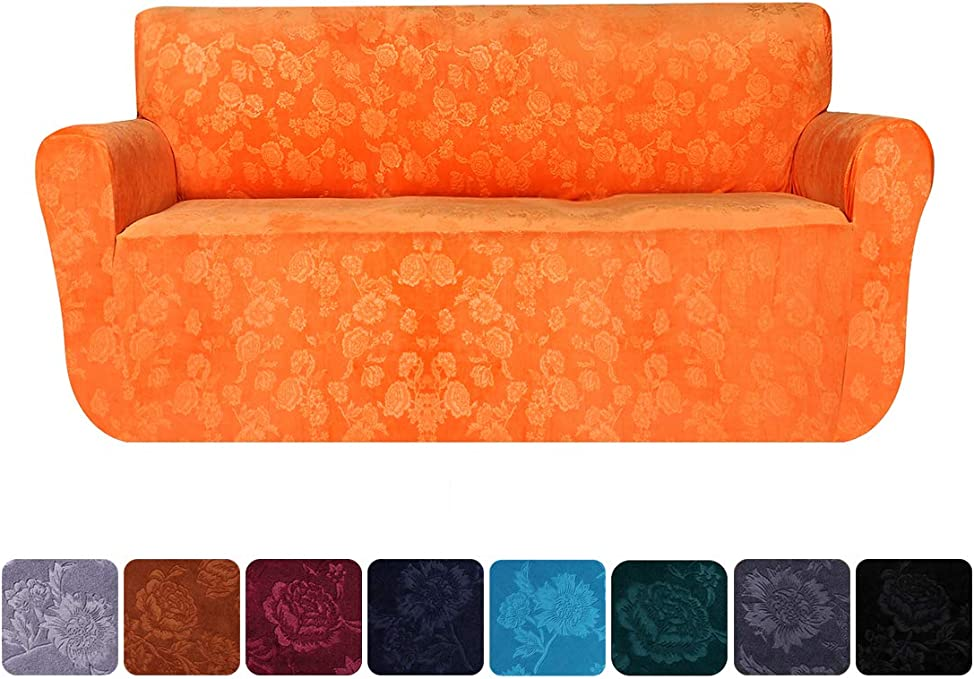 smiry Velvet Stretch Sofa Covers Stylish Furniture Protector, 1 Piece Soft Non Slip Embossing Flower Pattern Couch Slipcovers (Sofa, Orange)