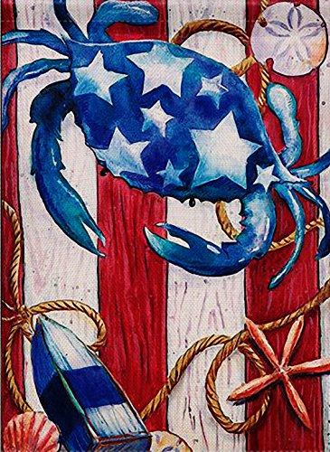 (Dyrenson Home Decorative Outdoor Patriotic Crab Garden Flag Beach Double Sided, Tropical Ocean Starfish House Yard Flag, Stars Garden Yard Decorations, Navy Nautical Seasonal Outdoor Flag 12 x 18)