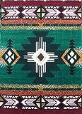 Southwest Native American Area Rug Design C318 Hunter Green (8 Feet X 10 Feet)