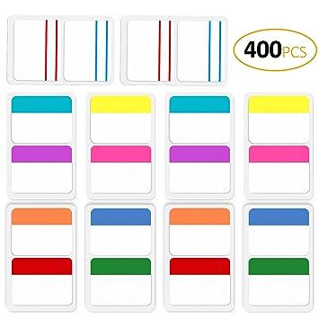 ExcelFu - Juego de 400 hojas de etiquetas de índice de 5 cm para archivadores, libros, cuadernos, carpetas de archivos: Amazon.es: Oficina y papelería