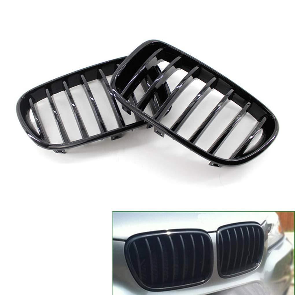 Junecat Brillant Gloss Black Pare-Chocs Avant Grille Reins pour F25 X3 2011-2013 Pr/é-LCI