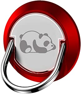 JAZZUP Cell Phone Ring Holder, Cute Panda Phone Stand Smartphone Finger Grip Metal Loop Adjustable Mobile Kickstand for Magnetic Car Mount iPhone Samsung Galaxy Pop Hand Desk Iring (Red)
