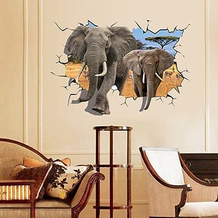 Éléphant Africain 3D style maison maison PVC autocollant ...