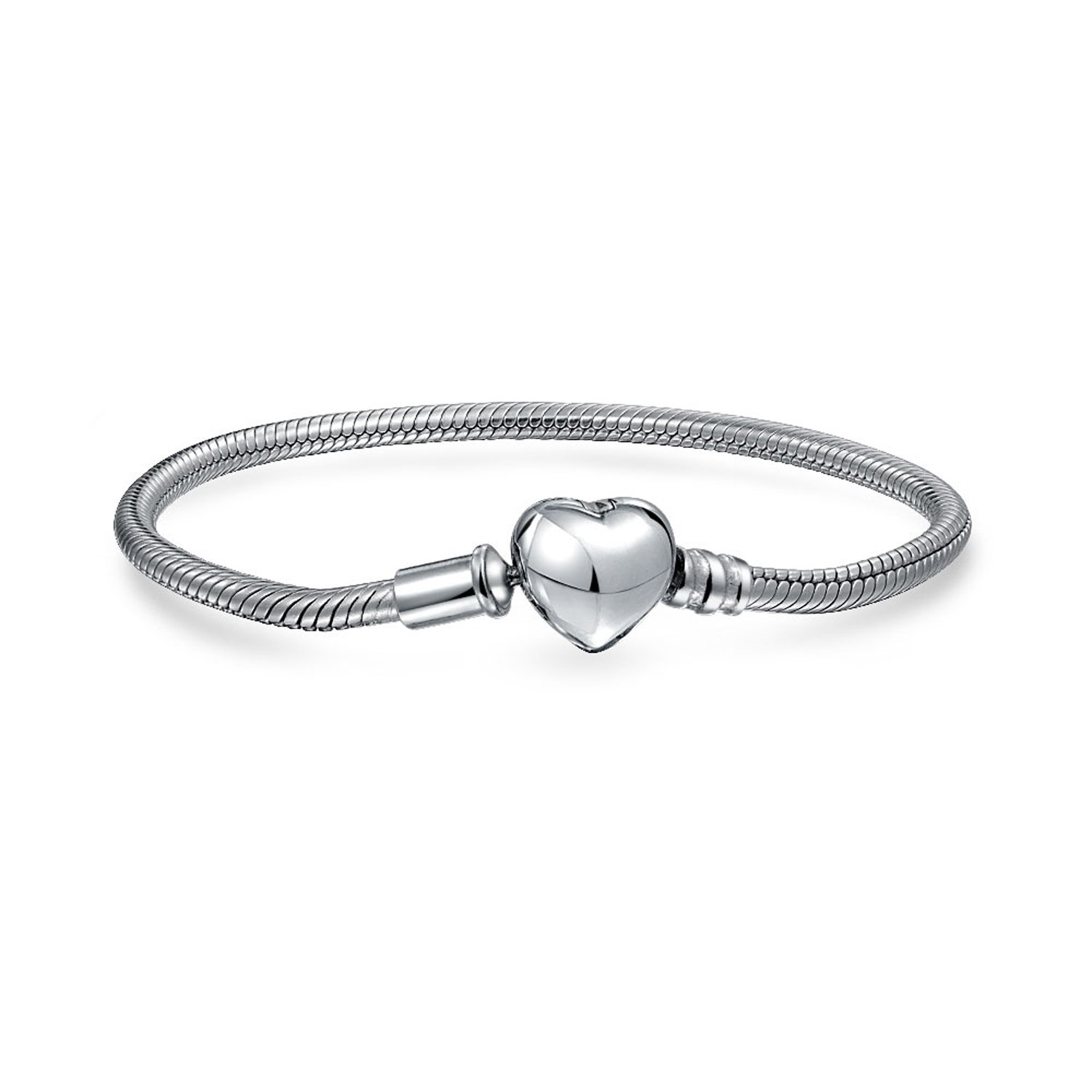 Bling Jewelry Snake Chain Bracelet Heart Barrel Clasp For Charm Bead .925 Sterling Silver