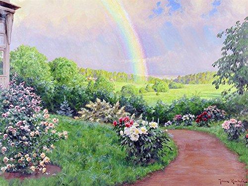 "Landscape Garden Rainbow Flowers by Johan Krouthen Accent Tile Mural Kitchen Bathroom Wall Backsplash Behind Stove Range Sink Splashback One Tile 10""x8"" Ceramic, Matte"