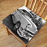 pin up car seat covers - Nalahome Set of 2 Waterproof Cozy Seat Protector Cushion Vintage 50s 60s Retro Classic Pin Up Style Cars in Hollywood Movies Image Artwork Black White and Gray Printing Size 18x18inch