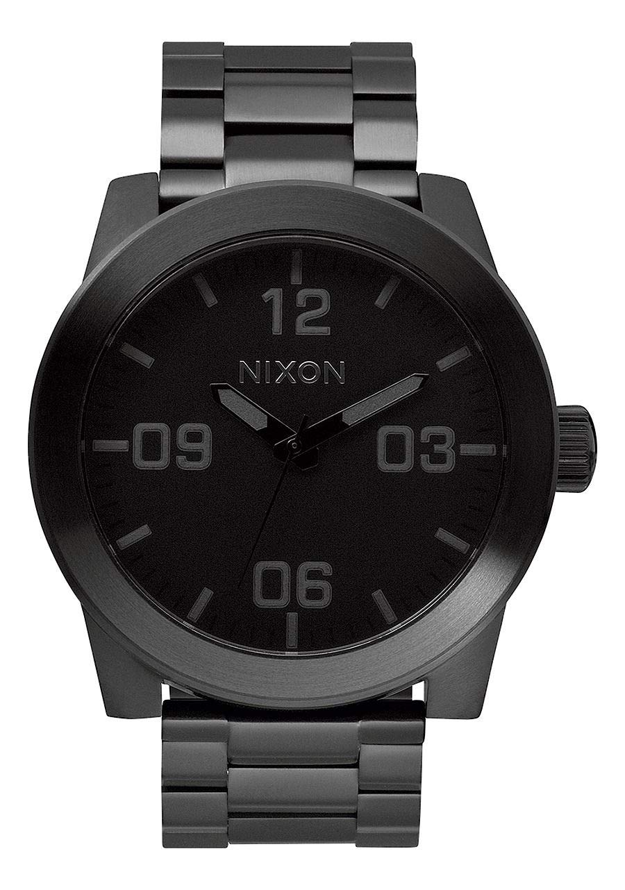 NIXON Corporal SS A347 - All Black - 101M Water Resistant Men's Analog Field Watch (48mm Watch Face, 24mm Stainless Steel Band) by NIXON