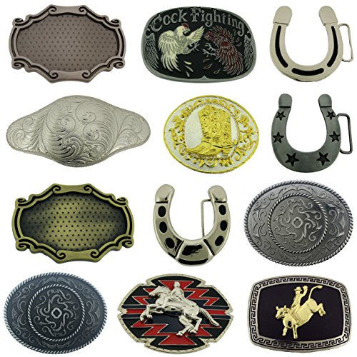 12 Pieces Wholesale Lot Rodeo Boots Rooster Flower Design Horse Shoe Belt Buckle from Generic
