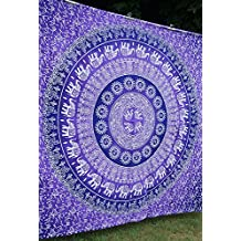 Purple Ombre Mandala Tapestry, Indian Ombre Tapestry, Hippie Tapestries, Wall Tapestries, Hippy Boho Throw, Bohemian Tapestries, Home Decor by Nirmal