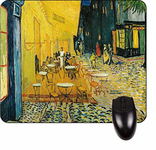 (Vincent Van Gogh's The Cafe Terrace on the Place du Forum -Vincent Willem Van Gogh/Post-Impressionist/Post-Impressionism/Dutch/Netherlands/France/French/Painter-Square Mouse pad - Stylish, durable office accessory and gift)