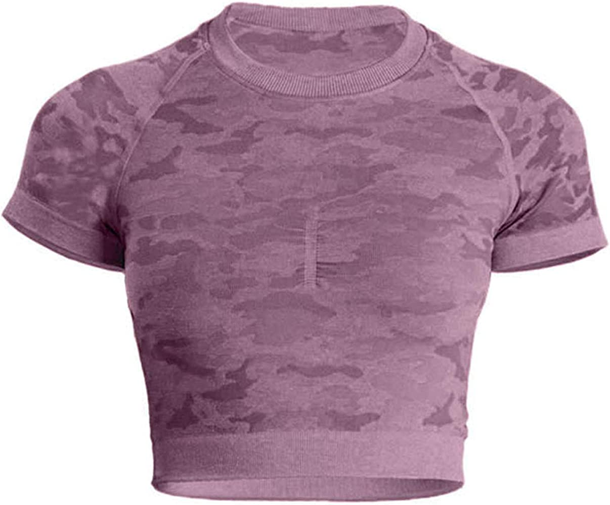 Ladies Purple Camo seamless gym leggings and long sleeved crop top Size S and M