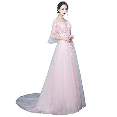 d2a499a557206 ピンク ウエディングドレス 結婚式 カラー プリンセスラ イン カラードレス 演奏会 ロングドレス 高級