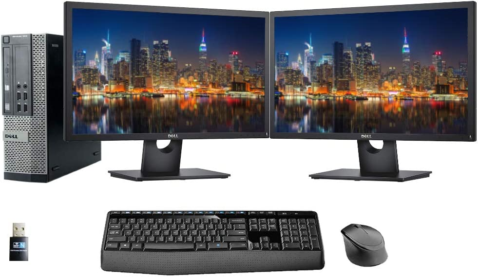Dell Optiplex 7010 PC, 2 x 24 FHD Dell Monitors, Wireless Keyboard and Mouse, WiFi, i5, 8GB Memory, 480GB SSD Storage, Windows 10 (Renewed)