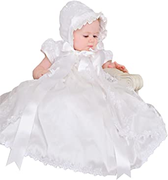 Newdeve Long Baptism Dresses for Baby Girls Christening Gowns Toddler with Bonnet
