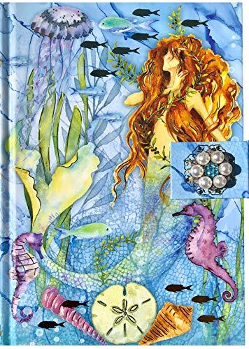 Punch Studio Hard Cover Foil Brooch Embellished Journal ~ Mermaid 65622