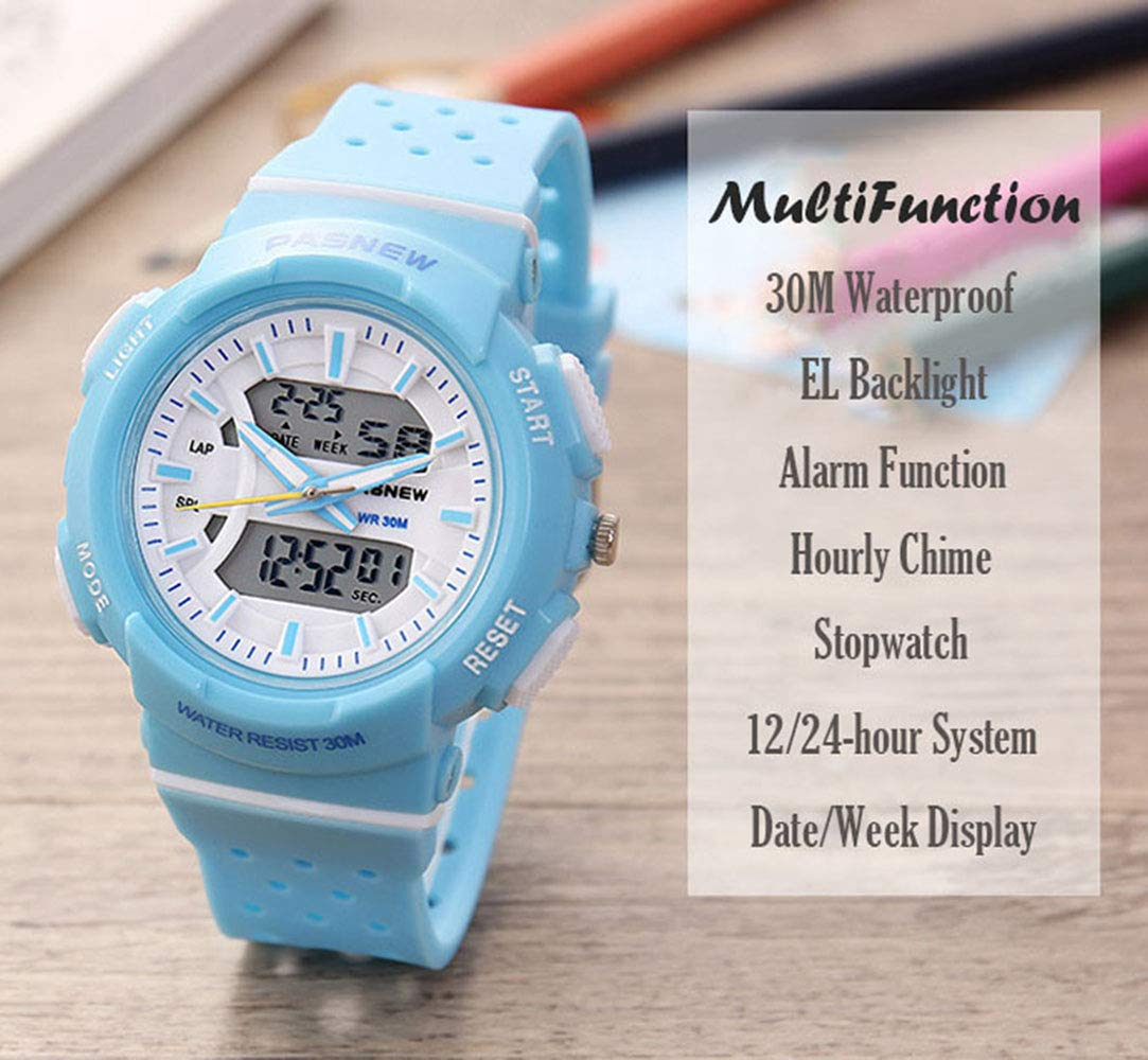 PASNEW Kid Watch Multi Function Digital-Analog Sport Watches for 6-Year Old or Above Children-LightBlue by PASNEW (Image #3)