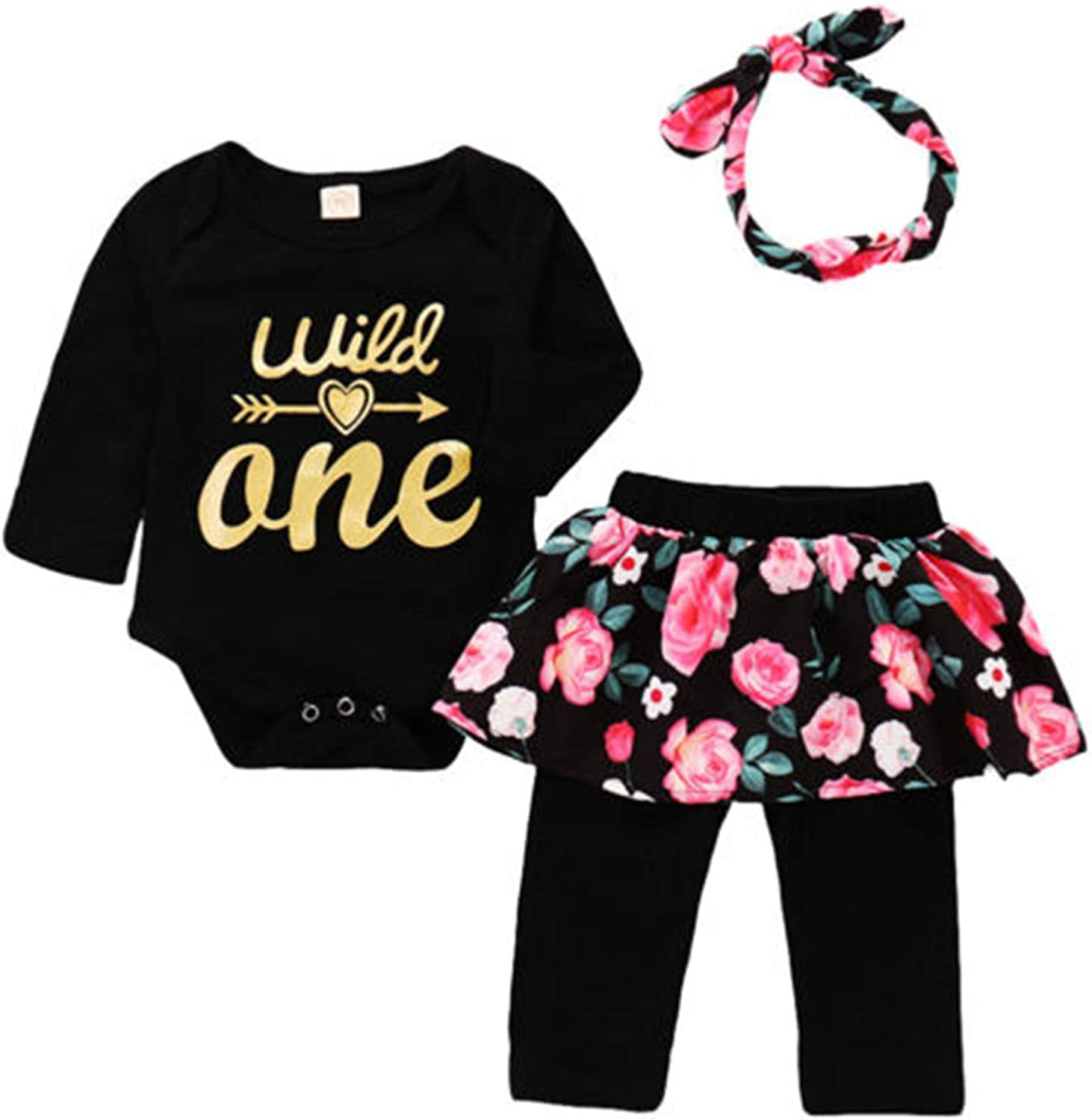 Amazon Com Cute Newborn Baby Girls Long Sleeve Romper Tops Floral Skirt Pants Outfits Set Clothes 0 24m Clothing