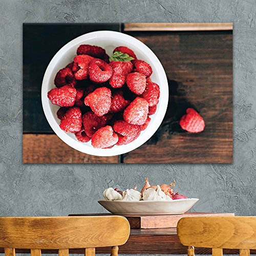 A Bowl of Raspberries on Wooden Background