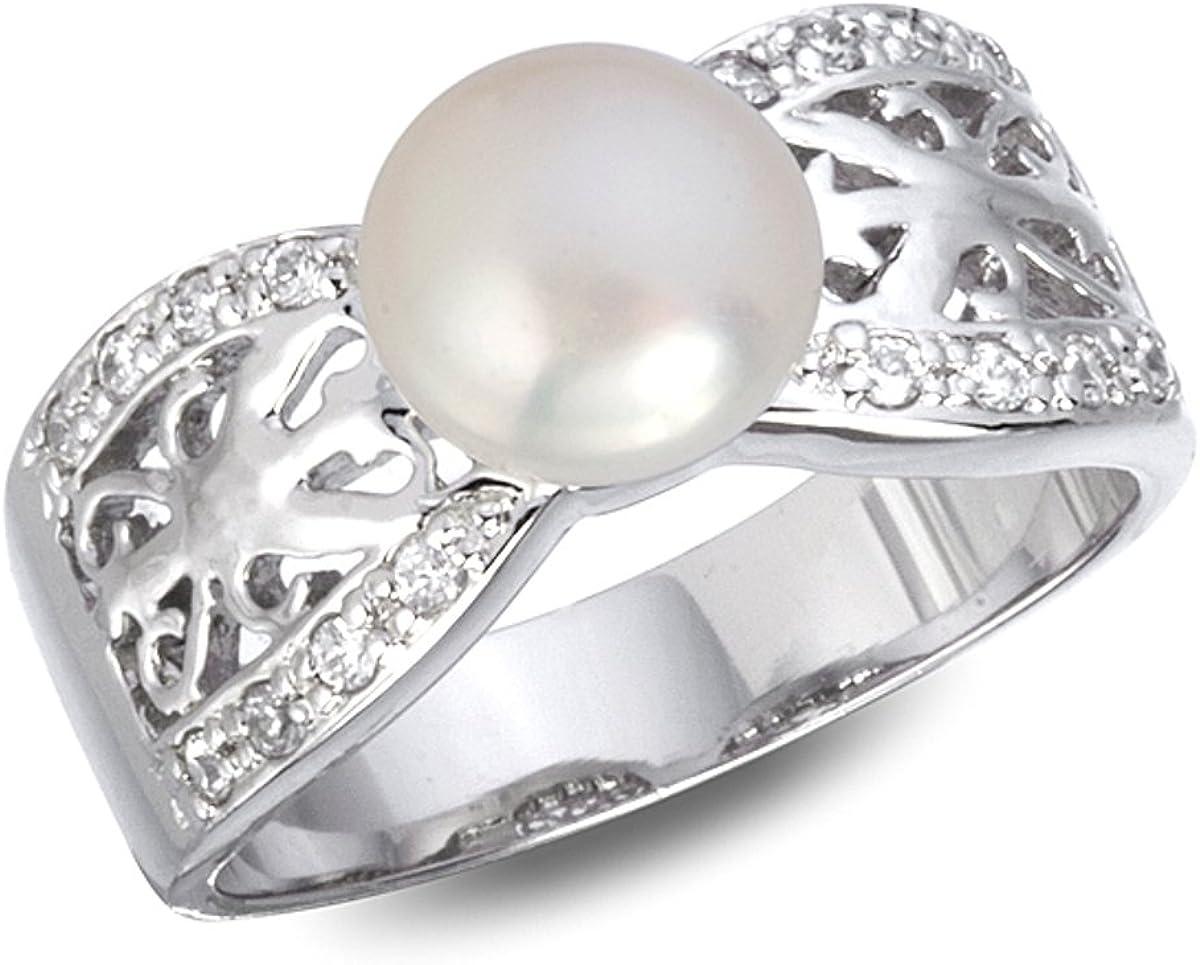 Anillo de perlas de agua dulce con circonita blanca inspirada en rodio