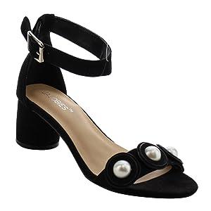 JACOBIES AF73 Women's Block Heels Ankle Strap Open Toe Sandals, Color:BLACK, Size:11