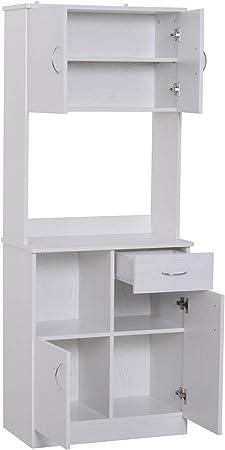 HOMCOM Armario Alacena Buffe Aparador de Cocina Organizador Mueble Auxiliar de Cocina 3 Puertas 1 Cajón y Encimera Abierta para Almacenamiento 71x41x178cm